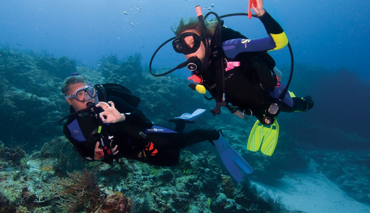 Male and female doing one of the PADI courses scuba diving